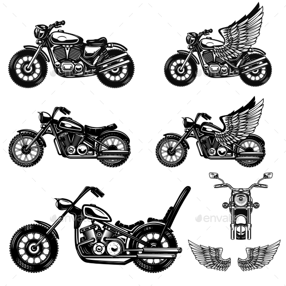 Set of Motorcycle Illustrations - Miscellaneous Vectors