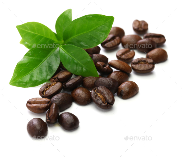 roasted coffee beans and leaves - Stock Photo - Images