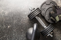 Dumbbell and fitness gloves. - PhotoDune Item for Sale