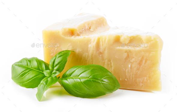 parmesan cheese and basil - Stock Photo - Images
