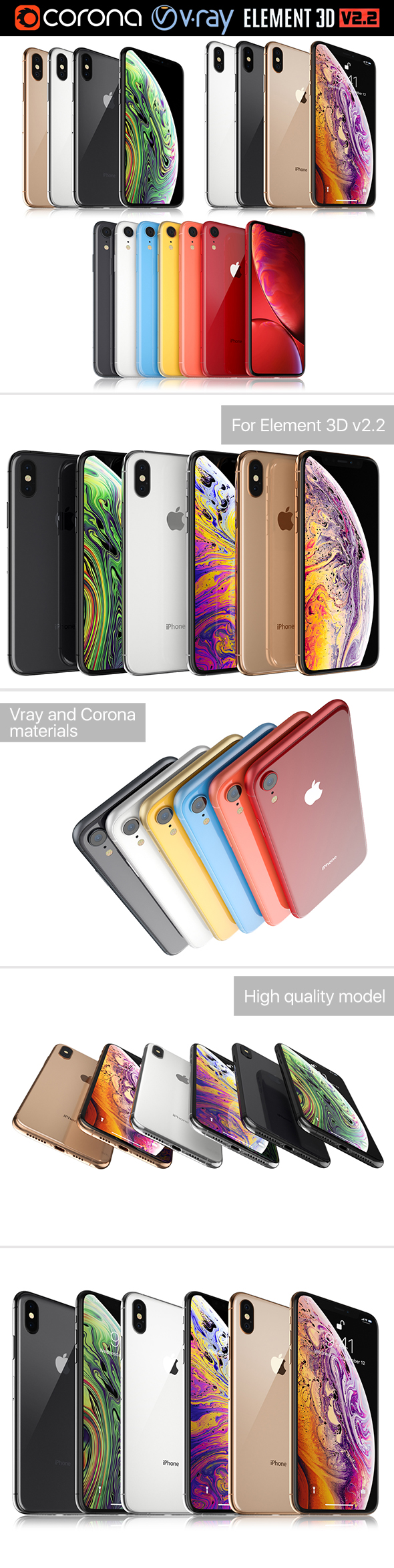 Apple iPhone Xr and Xs and Xs MAX Collection - 3DOcean Item for Sale