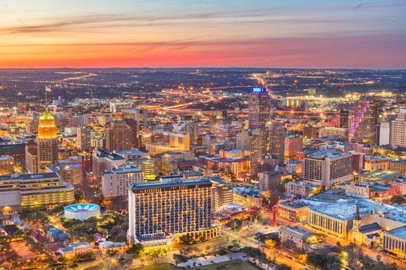 San Antonio, Texas, USA Skyline - Stock Photo - Images