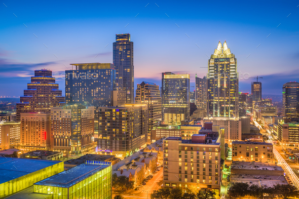 Austin, Texas, USA Skyline - Stock Photo - Images