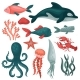 Flat Vector Set of Sea Animals and Objects. Fishes - GraphicRiver Item for Sale