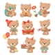 Set of Adorable Teddy Bears in Different Actions - GraphicRiver Item for Sale
