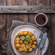 Breakfast with fried mini eggs and breadm copy space - PhotoDune Item for Sale