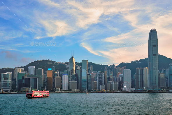 Junk boat in Hong Kong Victoria Harbour - Stock Photo - Images