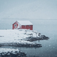 Red rorbu house in winter, Lofoten islands, Norway - PhotoDune Item for Sale