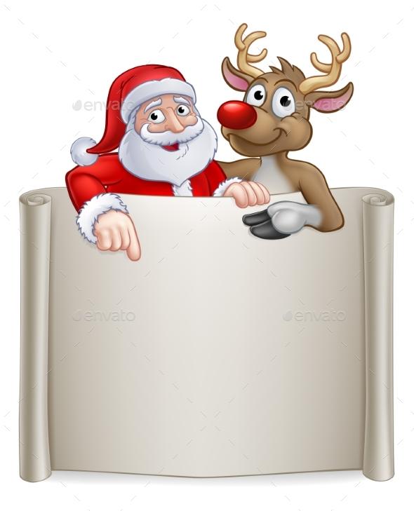 Christmas Santa Claus and Reindeer Cartoon Sign - Christmas Seasons/Holidays