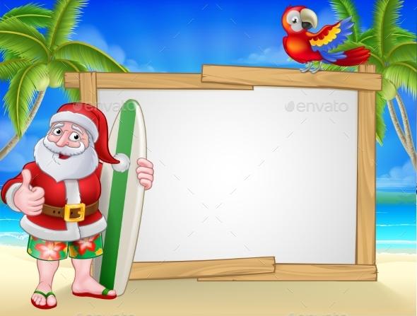 Santa Claus Surf Beach Christmas Cartoon Sign - Christmas Seasons/Holidays