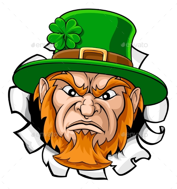 Leprechaun Mascot Cartoon Ripping Background - Miscellaneous Characters