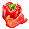 Red bell pepper whole and slices c. annuum - PhotoDune Item for Sale