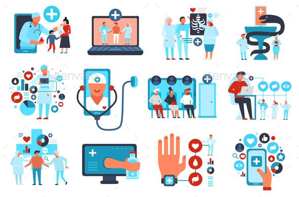 Online Medicine Flat Set - Health/Medicine Conceptual