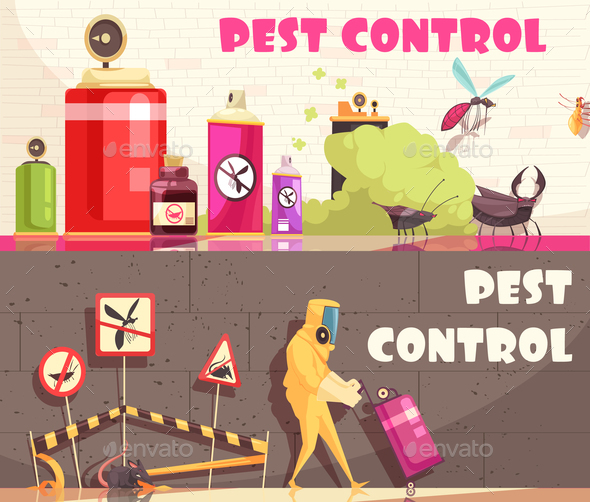 Pest Control Horizontal Banners - Industries Business