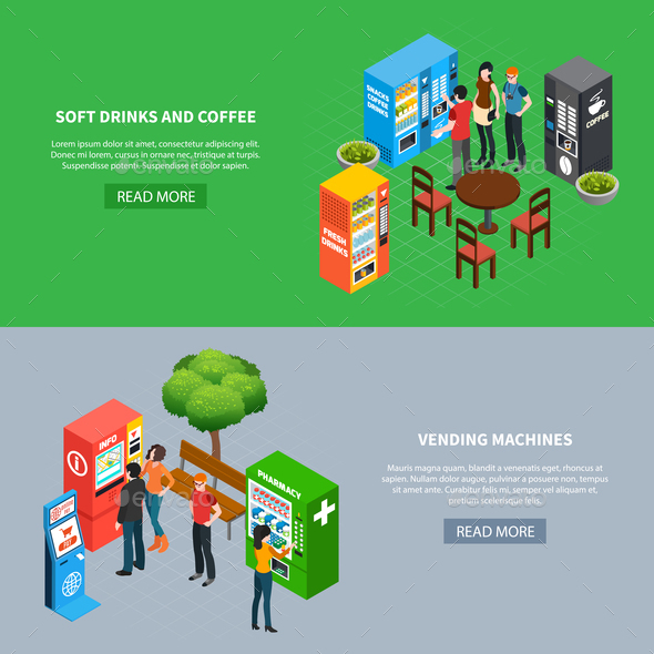 Vending Machines Banners Set - Food Objects