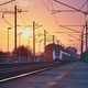Passenger train at sunrise. - PhotoDune Item for Sale