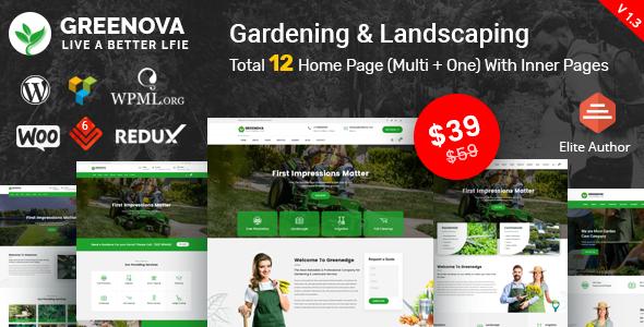 Greenova - Gardening & Landscaping WordPress Theme
