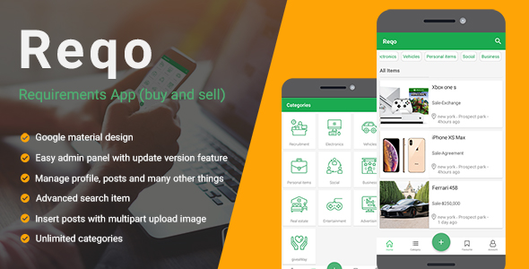 Reqo - Buy & sell application react native (ads Classified)            Nulled