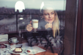 Pretty woman drinking latte - PhotoDune Item for Sale