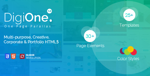 DigiOne – One Page Parallax Html Template
