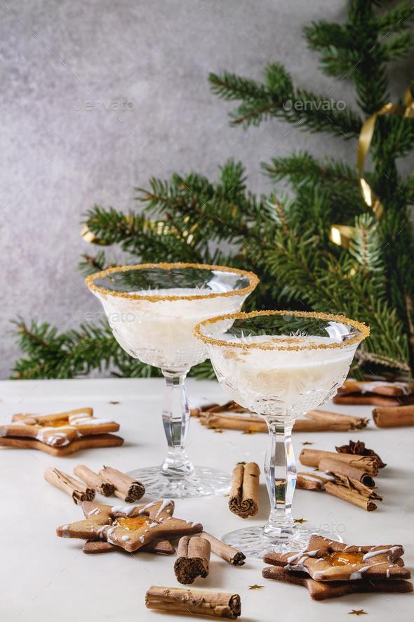 Christmas Eggnog cocktail - Stock Photo - Images
