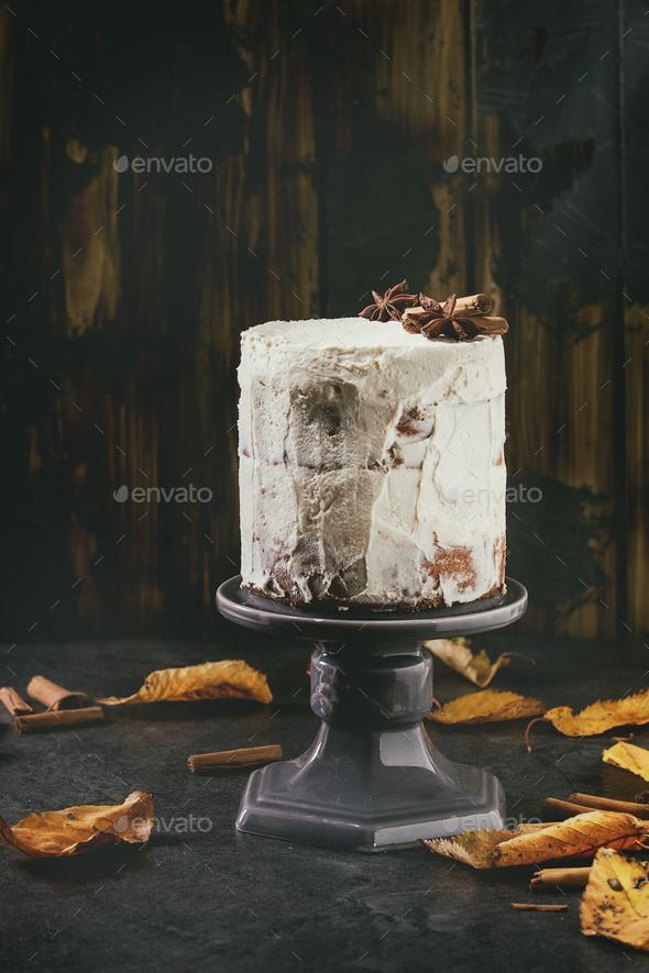 Autumn naked cake - Stock Photo - Images