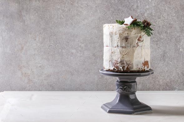 Christmas naked cake - Stock Photo - Images