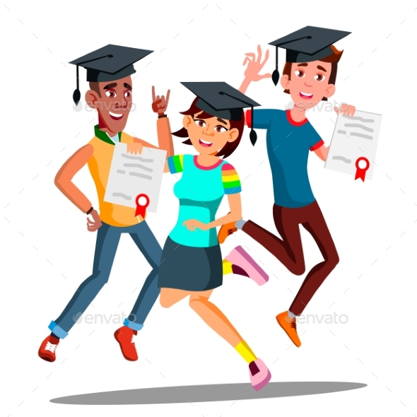 Group Of Happy Students In Graduation Caps Jumping - People Characters