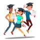 Group Of Happy Students In Graduation Caps Jumping - GraphicRiver Item for Sale