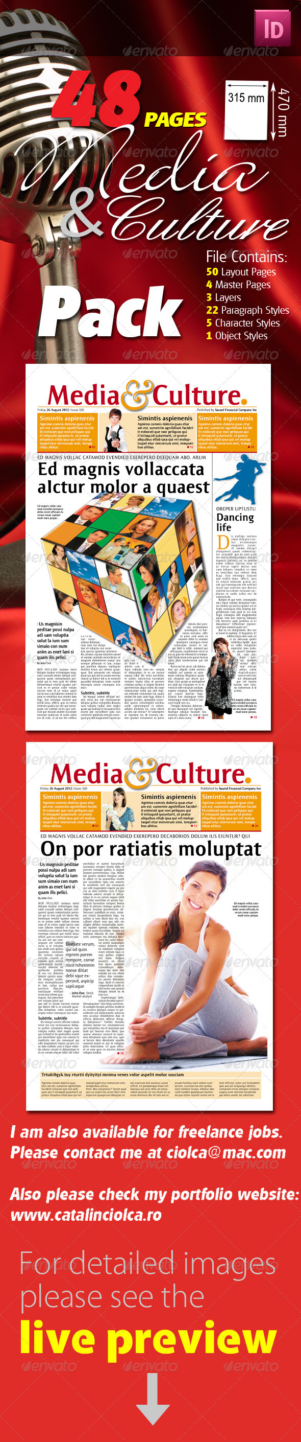 48 Pages Media & Culture Newspaper Pack - Miscellaneous Print Templates