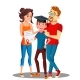 Happy Parents Standing Behind The Student  - GraphicRiver Item for Sale