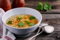 Homemade Chicken and Alphabet Soup with carrots and parsley in bowl - PhotoDune Item for Sale