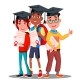 Multinational Group Of Students In Graduation Caps - GraphicRiver Item for Sale