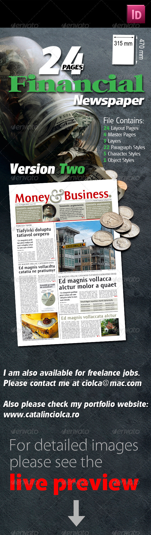 24 Pages Financial Newspaper Version Two - Miscellaneous Print Templates