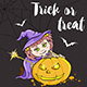 Halloween Card with Girl in Witch Costume - GraphicRiver Item for Sale
