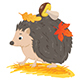 Hedgehog with Autumn Leaves and Mushroom - GraphicRiver Item for Sale