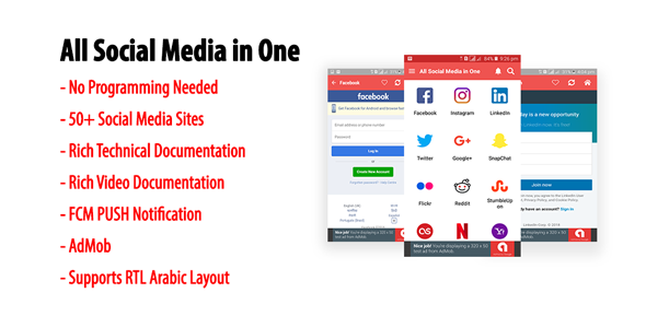 All Social Media in One | A Multi-site Android Application with AdMob & FCM PUSH Notification - CodeCanyon Item for Sale