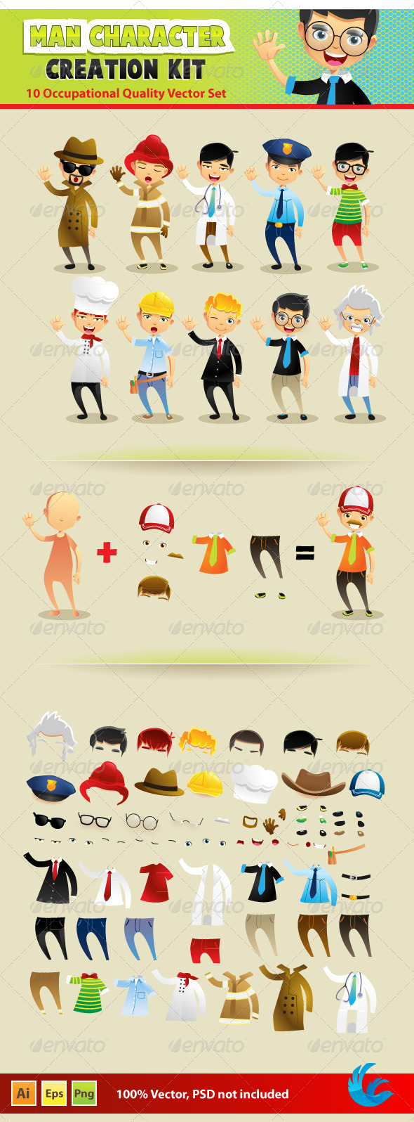 Man Character Creation Kit - Characters Vectors
