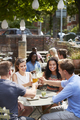 Friends Sitting At Table In Pub Garden Making Toast Together - PhotoDune Item for Sale