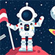 Astronaut in Space Suit Standing on Moon with Flag - GraphicRiver Item for Sale