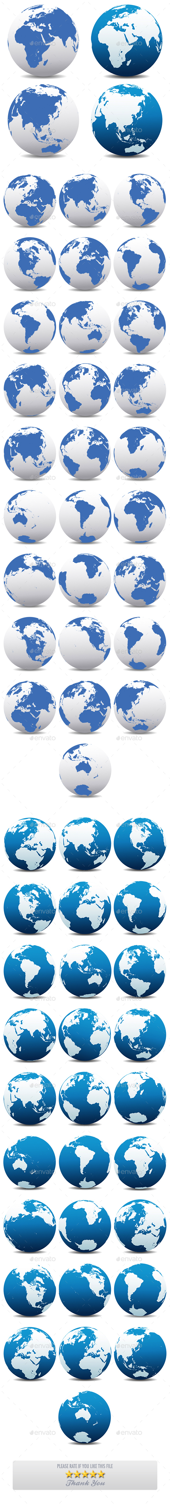 World and Globes Earth Collection Pack of 30 x Two Types - Conceptual Vectors