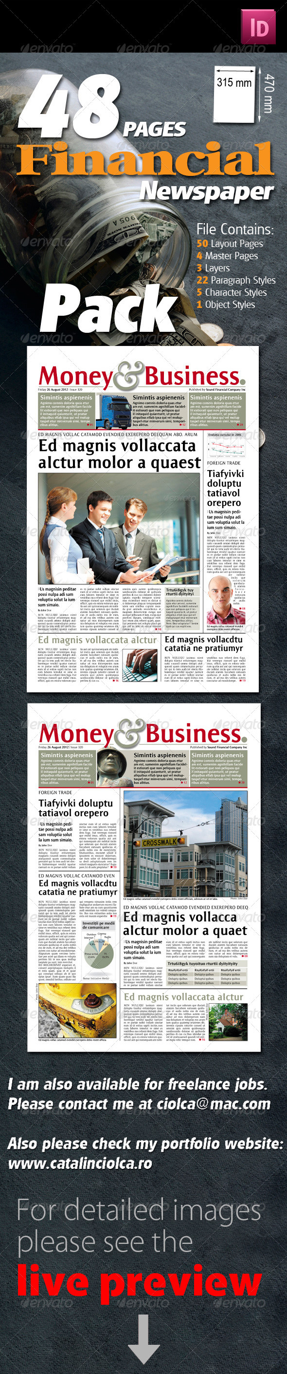 48 Pages Financial Newspaper Pack - Miscellaneous Print Templates