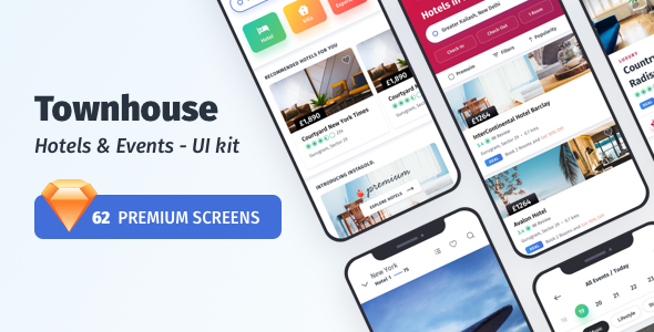 Townhouse Hotel Mobile App - UI-kit
