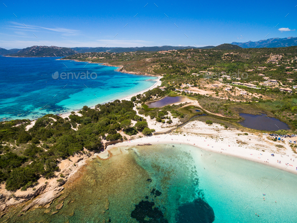 Aerial View Of Palombaggia Beach In Corsica Island France