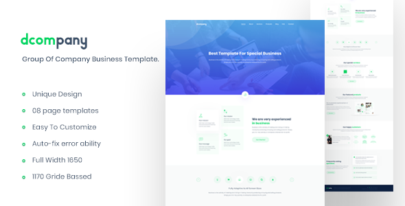 Dcompany Group Of Company Business Template By Sabbirmc Themeforest