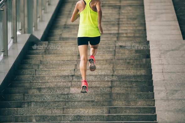 Running upstairs Stock Photo by lzf | PhotoDune