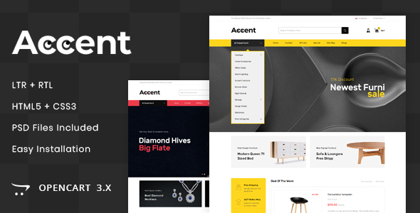 Accent - MultiPurpose OpenCart 3.x Responsive Theme - Shopping OpenCart