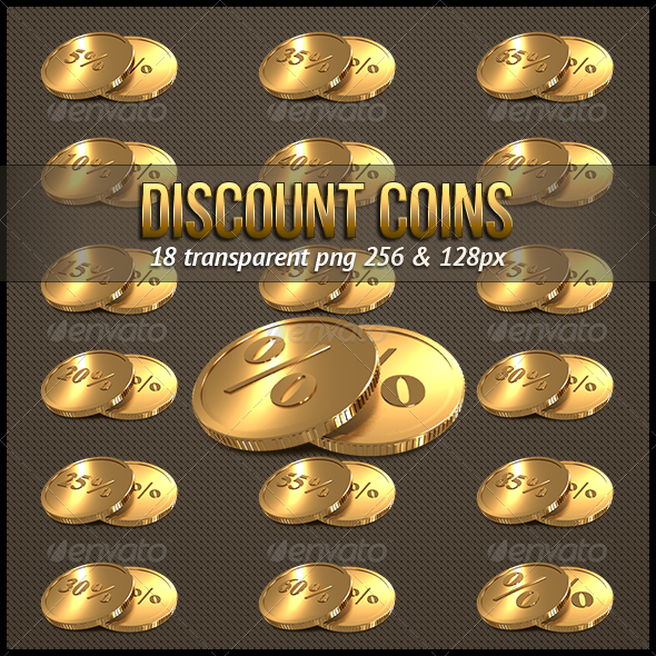 Discount Golden Coins Icons - Web Icons