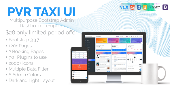 PVR Taxi UI - Multipurpose Bootstrap Admin Dashboard Template