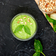Homemade pesto sauce in glass jar with ingredients. - PhotoDune Item for Sale